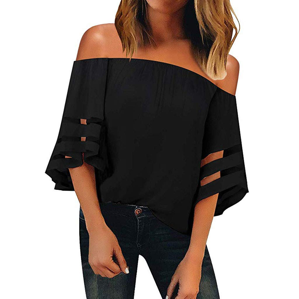 Tantisy ♣↭♣ Tops for Women ◈ Fashion Ladies Off Shoulder One Word Collar Mesh Panel Crop 3/4 Bell Sleeve Loose Top Shirt Black
