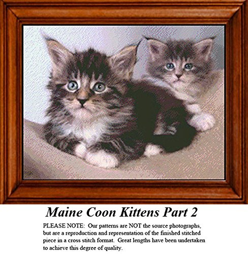 Maine Coon Kittens Part 2, Animal Counted Cross Stitch Pattern (Pattern Only, You Provide the Floss and Fabric)
