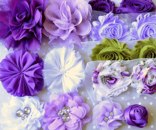 Lavender Fields Purple, White, Green Shabby Chiffon Fabric Flowers Mix for DIY Baby Headbands and - Flower Embellishment