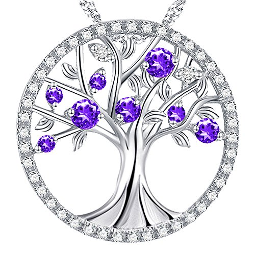 """Life Pendant Love (Birthstone Amethyst Gemstone Necklace Gifts for Women The Tree of Life Love Pendant Jewelry Birthday Gifts for Her for Wife for Grandma Anniversary Present Sterling Silver 18""""+2"""" Chain)"""