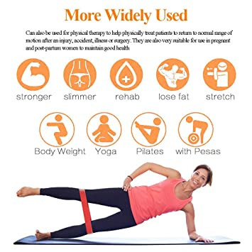 Amazon.com : Resistance Bands Exercise Loops Set for Legs Butt Glutes Yoga Home Fitness Stretching Strength Training Physical Therapy Natural Latex Workout ...