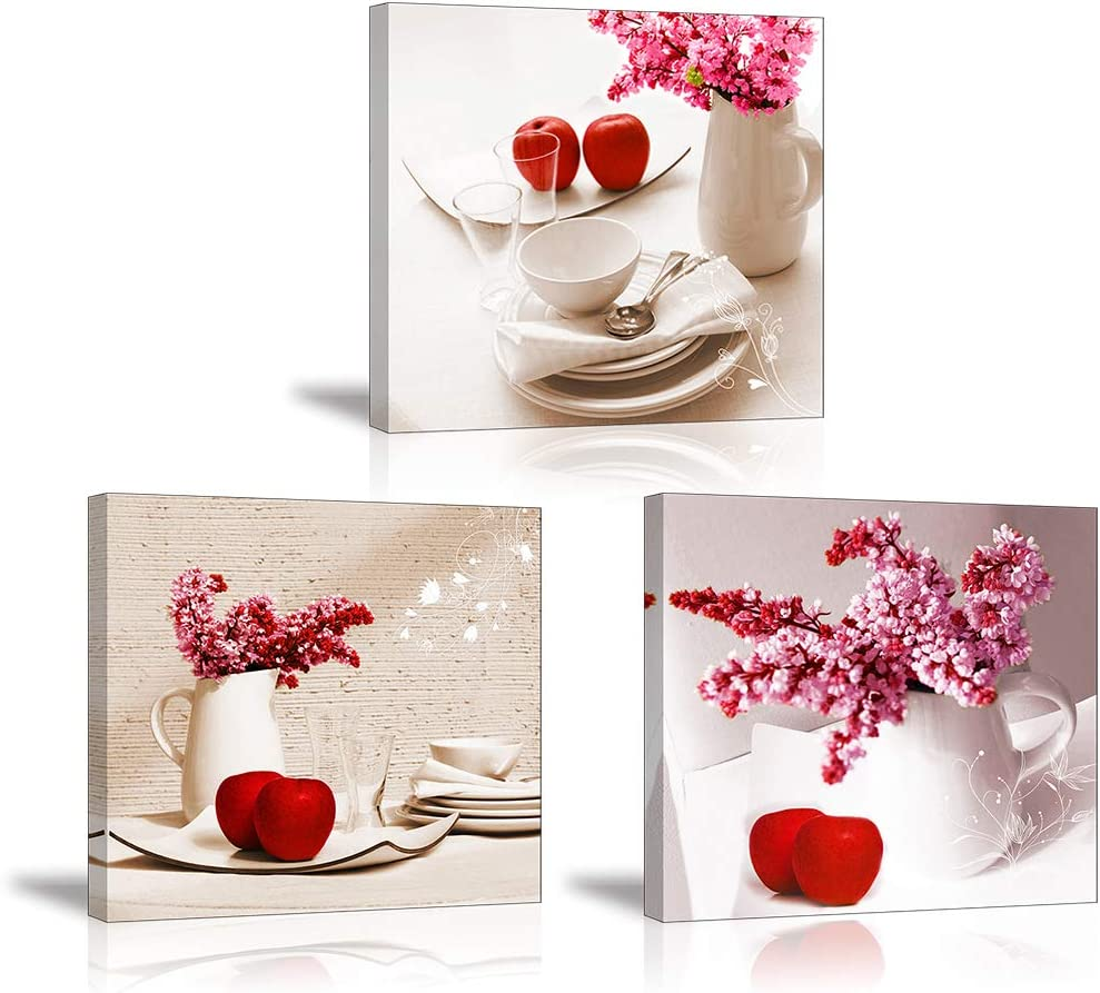 Red Apple Wall Art for Kitchen, SZ Flower Bowl and Dish Canvas Prints Decor for Dining Room (Waterproof Artwork, Bracket Mounted Ready to Hang)