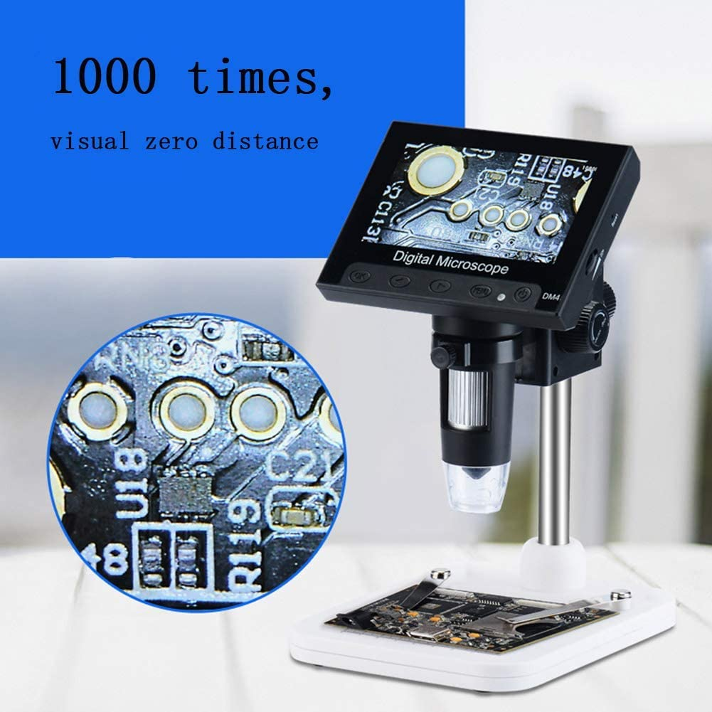 Metalbracket Hfoobsa Stand Alone Desktop LCD Digital Microscope 1080X Magnification USB Microscopes with 4.3 Inch TFT Color Display,8 LED