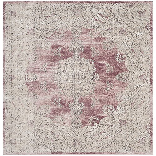 Safavieh Palermo Collection PLM842R Rose and Beige Square Area Rug, 6'7 Square Vintage Rose Collection