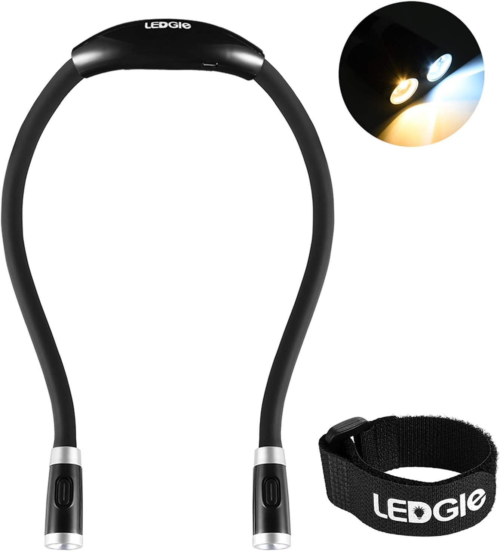 LEDGLE Manos Libres luz de Abrazo, Cuello Libro luz Recargables LED luz de Noche Lámpara de Lectura Flexible, 4 Cuentas LED, 3 Modos de Iluminación, Cable USB Incluido