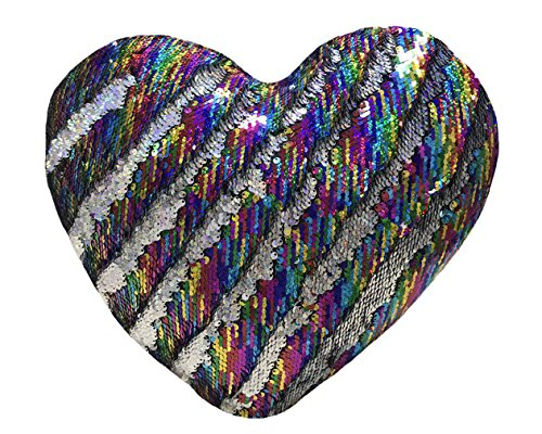 - J-hong Mermaid Throw Pillow with Insert,Two-Color Heart Shape Reversible Sequins Decorative Pillow. 13''×15'' (Silver Colors)