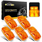 Partsam Five Trailer Marker LED Light Double Bullseye Amber 10 Diodes Clearance Light