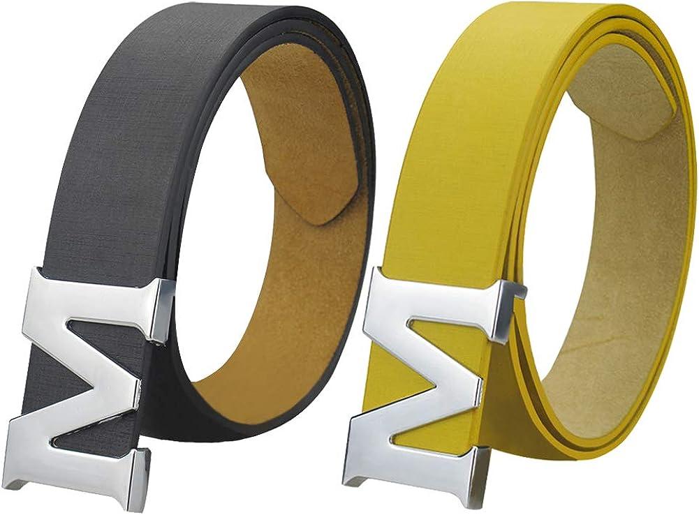 "Maikun Womens Leather Belts Removable Letter M Plate Buckle Waist Belt 1.18"" Width Valentine's Day"