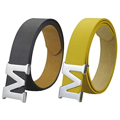 c5c5ec984906 Image Unavailable. Image not available for. Color: Womens Leather Belts  Removable Letter M Plate Buckle ...
