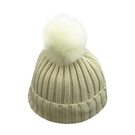 1-8 Years Unisex Baby Boys Girls Winter Solid Knit Hat Faux Fur Pom Pom 9df392d92ad8