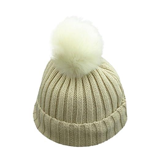 34b9e7f45eb 1-8 Years Unisex Baby Boys Girls Winter Solid Knit Hat Faux Fur Pom Pom