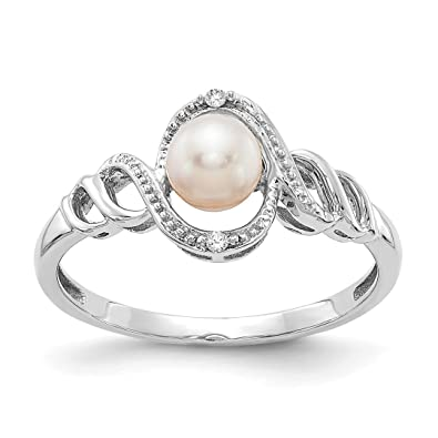 76ac4d06e Image Unavailable. Image not available for. Color: 10k White Gold  Freshwater Cultured Pearl Diamond Band Ring ...
