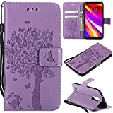 LG Aristo Case, LG Phoenix 3 Wallet Case,LG Fortune/K8 2017/LG Risio 2/LG Rebel 2 LTE Flip Case PU Leather Emboss Tree Cat Flower Folio Magnetic Kickstand Cover with Card Slots for LG LV3 Light Purple