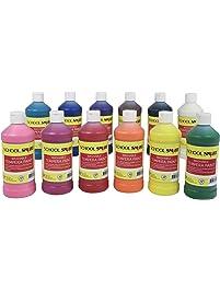 School Smart 2002801 Washable Tempera Paint Set, Grade: Kindergarten to 12, Pint, Assorted (Pack of 12)