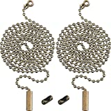 2 Pack Bronze Beaded Pull Chain Extension with Connector for Ceiling Light Fan Chain, 1 Meter Length (Bronze)