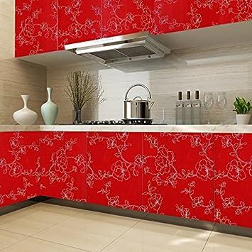 Küchenschrank folie  Möbelsticker Rot Folie Küche 2 St. 500x61cm TOP Qualität Aufkleber ...