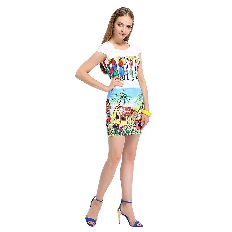JNTworld Frauen-Runde Collar Sleeveless Großformat gedruckt Tropical Druck-Kleid