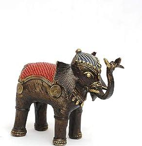 NewIndiaHaat MYPRIME Beautiful Tribal Bastar Art Dhokra Elephant Statue for Home Decor Brass Statue