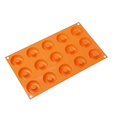 SF171 Molde de Silicona 15 donuts pequeños, color naranja