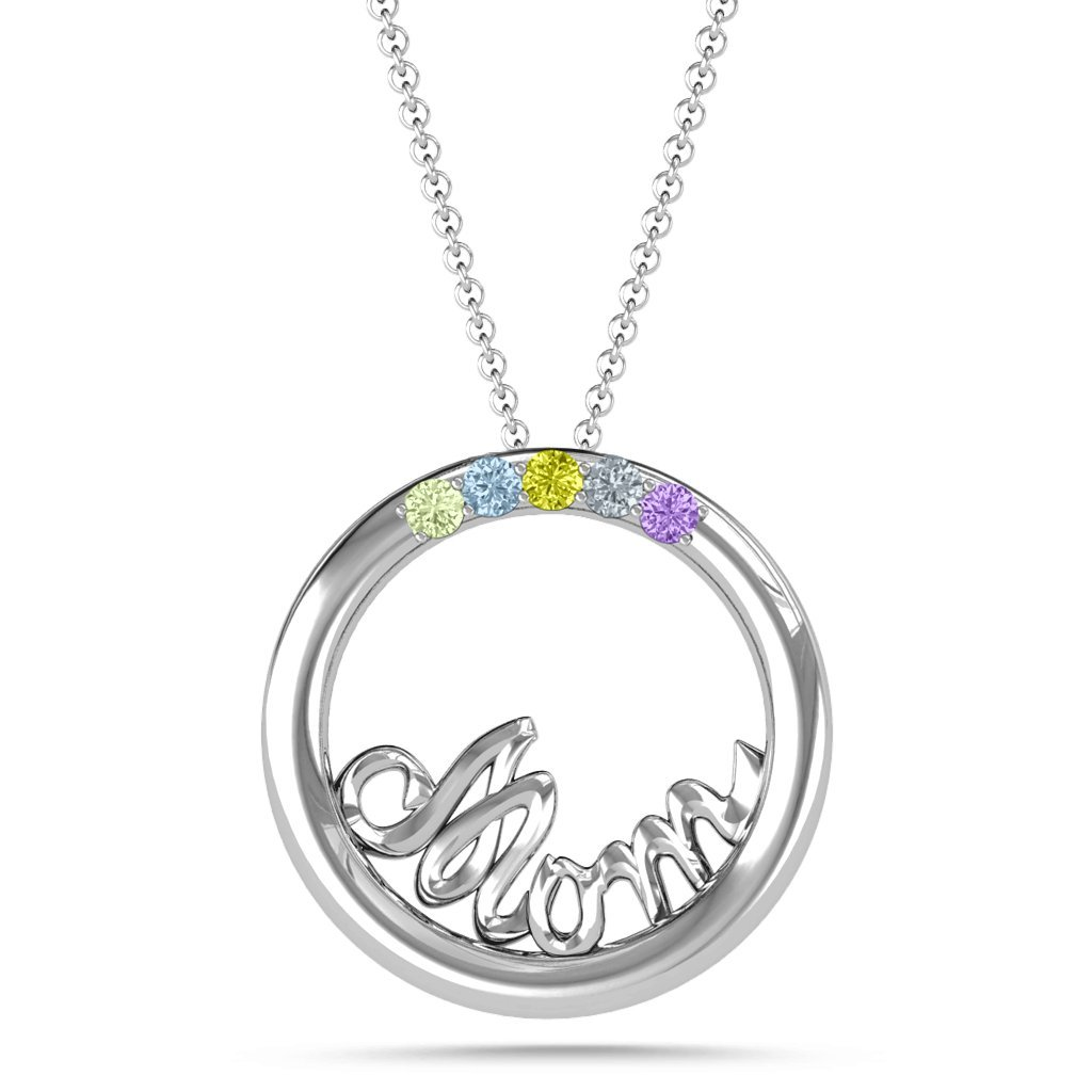 Sterling Silver Shimmering Circle Mom Necklace With Personalized Birthstones by JEWLR