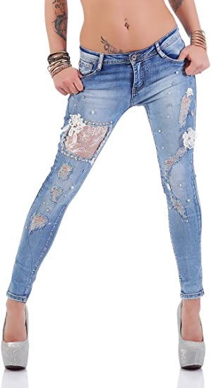 4457 Knackige Damen Röhrenjeans Hose Stretch-Denim Skinny Jeans Cut-outs