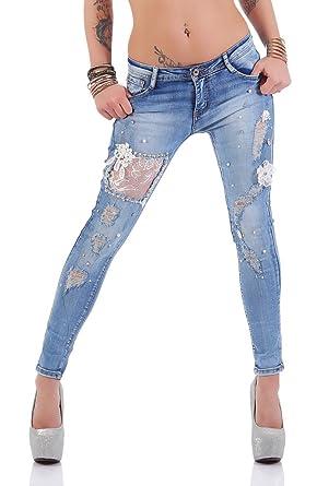 bd4dd4527a9b 4457 Fashion4Young Knackige Damen Röhrenjeans Hose Stretch-Denim Skinny  Jeans Cut-outs (L