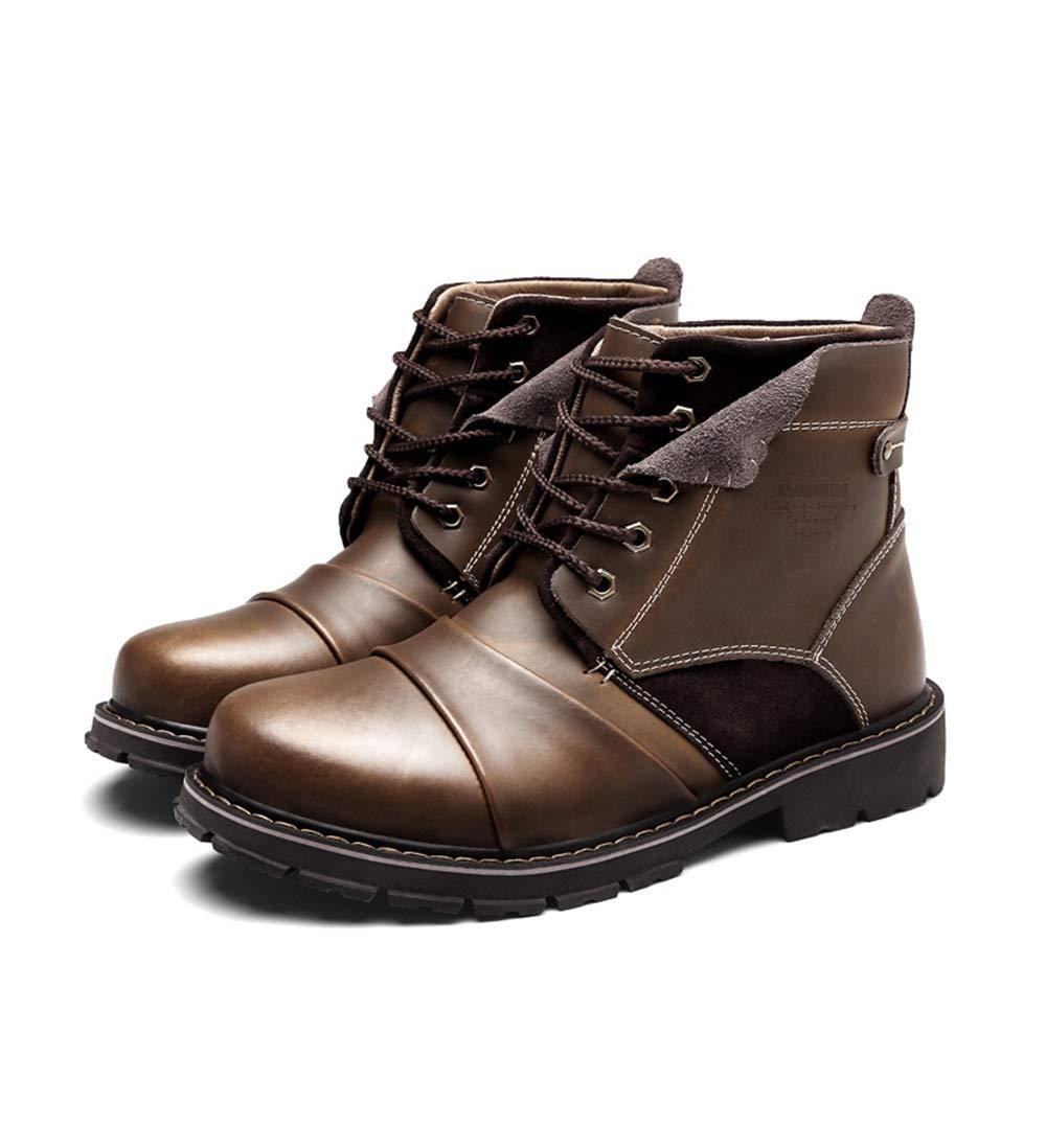 Qiusa Mens Echtes Leder Fell Gefüttert Weiche Sohle Rutschfeste Durable Comfort Stiefel (Farbe   Braun, Größe   EU 40)