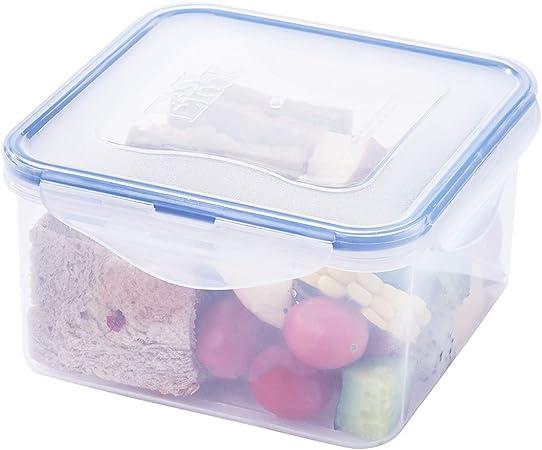Cajas de almacenamiento de alimentos contenedores cuadrados de plástico con tapa cocina hermético transparente caja de almuerzo 42.3oz: Amazon.es: Hogar