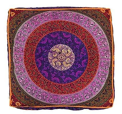 Bhagyoday Fashions Indio Mandala Suelo Almohada Cuadrada sofá Grande Funda de cojín Algodón puf Otomano Asiento