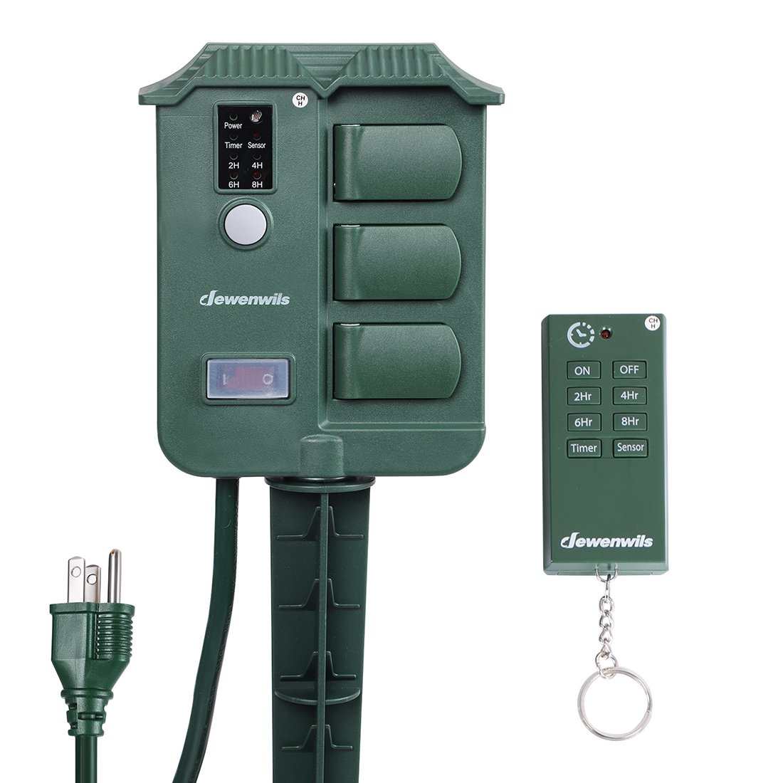 DEWENWILS Outdoor Power Strip Stake Timer with Remote, Waterproof Cover with 6 Grounded Outlets Electric Pool Timer, 6 ft Extension Cord, 100 ft Remote Control, 13A UL Listed by DEWENWILS
