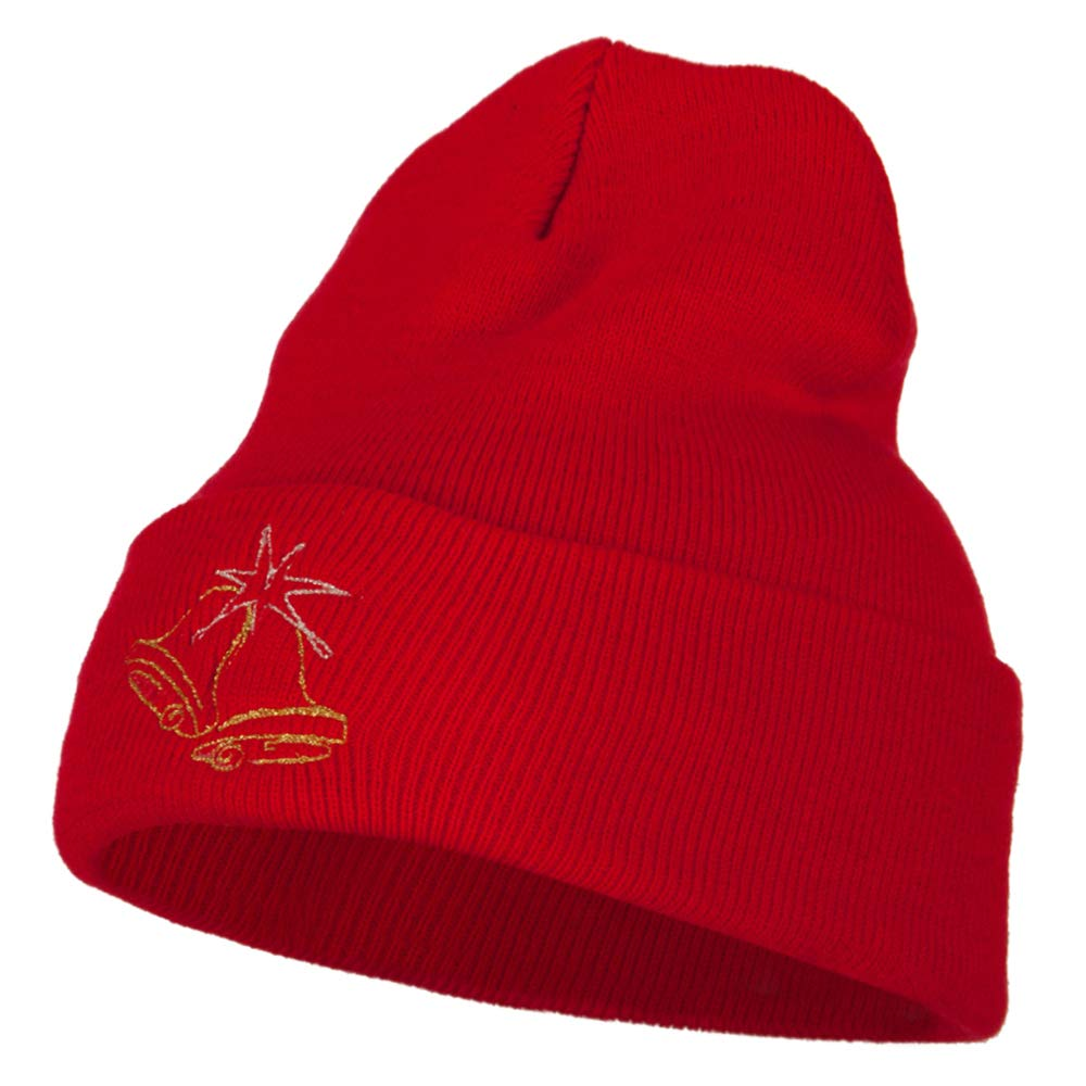 Glitter Christmas Bells Embroidered Long Knitted Beanie