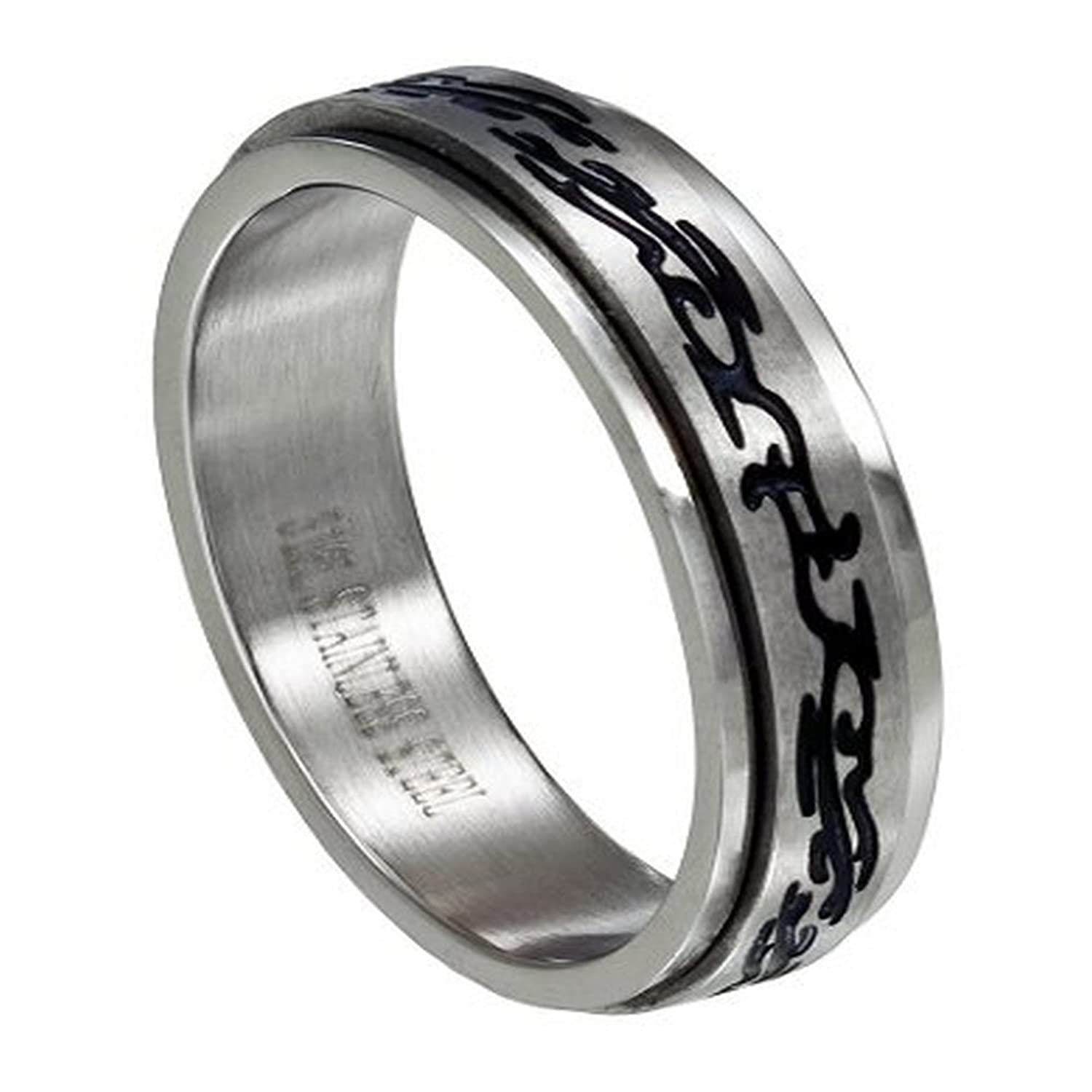 Men's 6mm Stainless Steel Two Tone Spinner Ring with Black Tribal Design