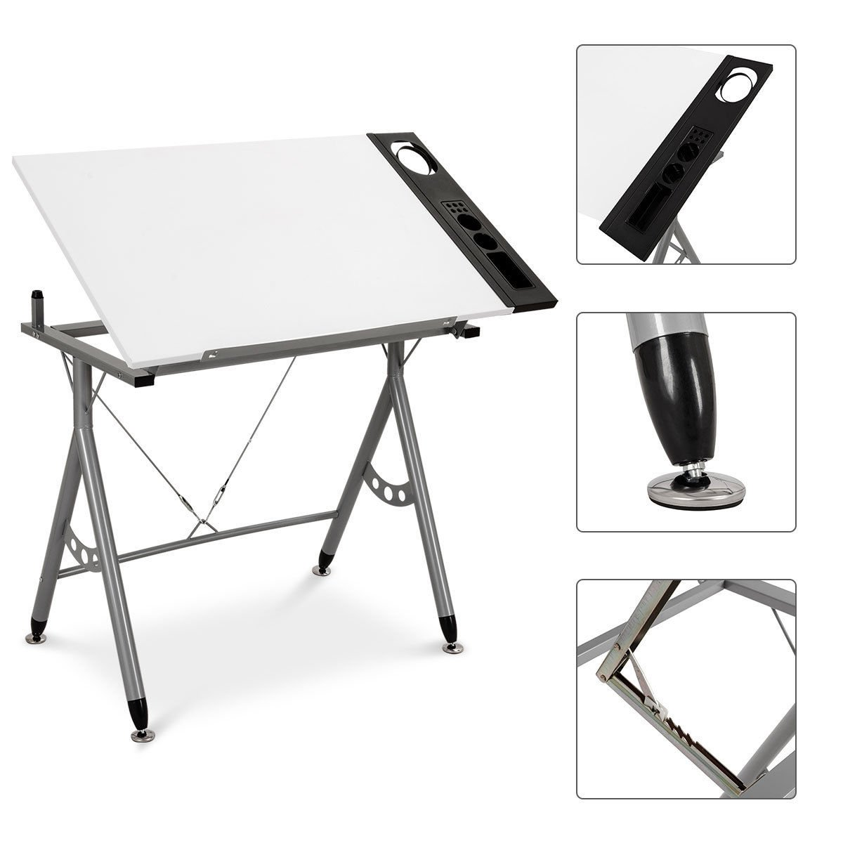 Safstar Adjustable Drafting Drawing Table Desk Tiltable Tabletop for Reading Studying Writing Art Craft Work Station with Side Tray (White)