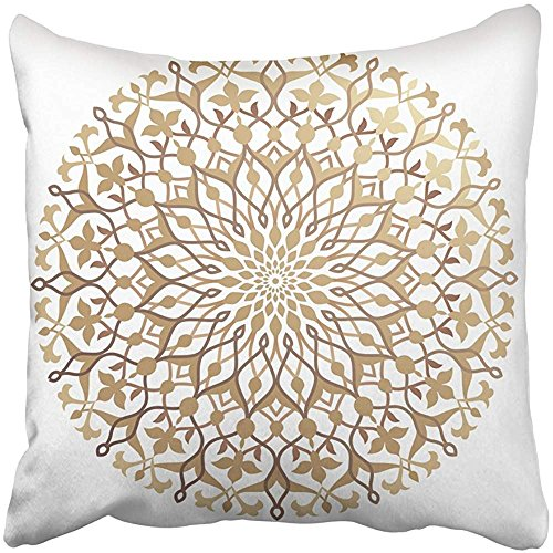 Throw Pillow Cover Square 18x18 Inches Arab Floral Pattern Round Arabesque Arabian Continue Rosette Moroccan Golden Polyester Decor Hidden Zipper Print On Pillowcases by Starosa