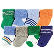 Luvable Friends Unisex 8 Pack Newborn Socks, Blue Stripe, 0-6 Months
