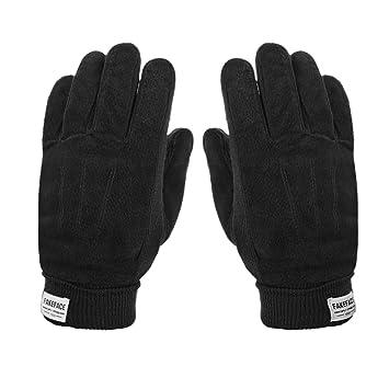 4480dc7b2e861 Gants Sport Hiver Automne Gants en Cuir Anti-vent/froid Moufles Tricoté  Crochet Epais