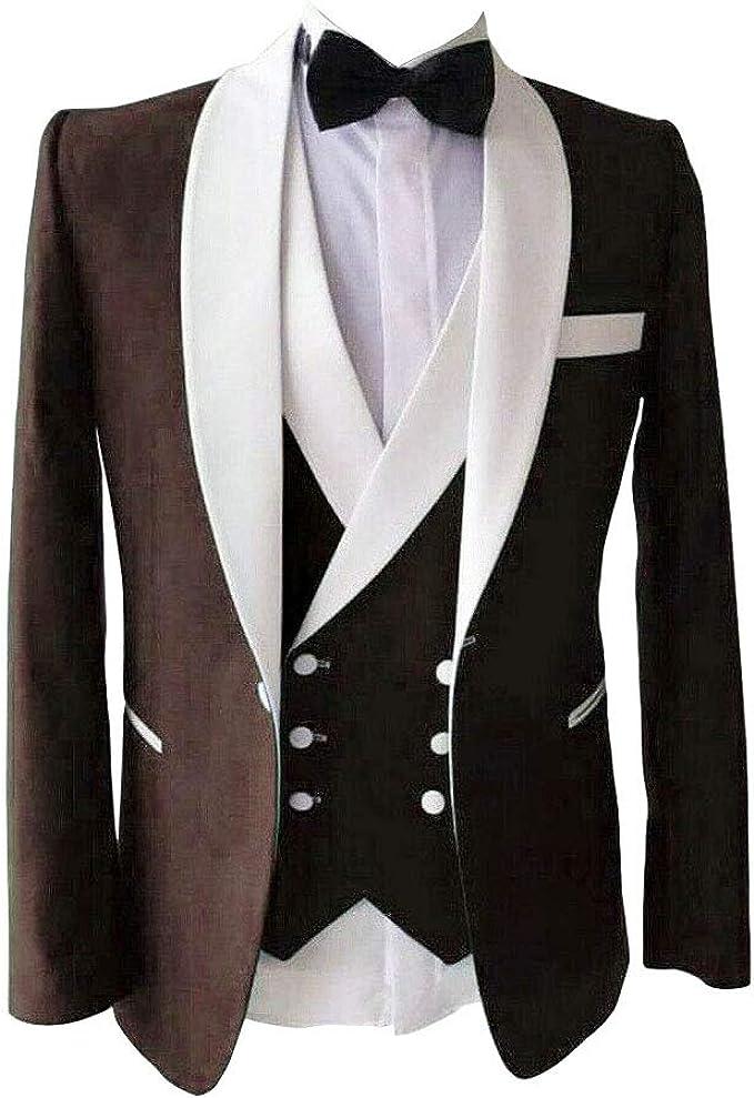 Amazon.com: Traje de boda para hombre, 3 piezas, color azul ...