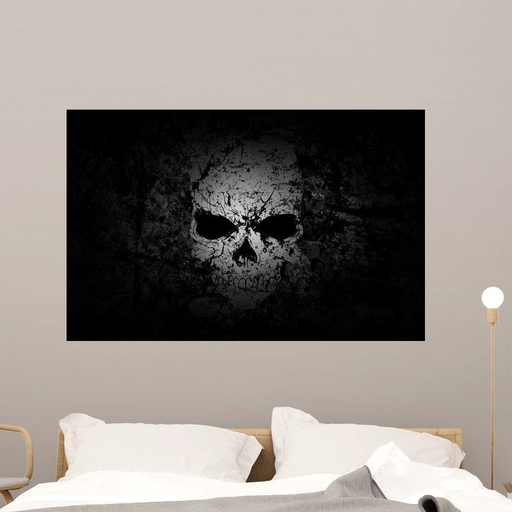 Grunge Skull Dark Wall Mural by Wallmonkeys Peel and Stick Graphic (48 in W x 31 in H) WM237516