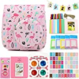 QUEEN3C Instax Mini 9 Case Accessories Kit Bundle for Fujifilm Instax Mini 9 or 8/8+,Include: Camera Case/Album/Color Filters/Selfie Lens/Photo Decor Stickers & More.(Flamingo pink)