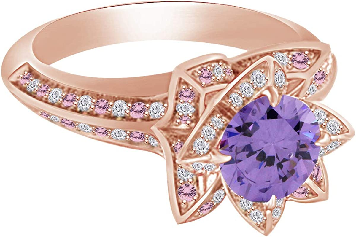 Sterling Silver Rose Gold Plated Multi Colored CZ Stones Heart Ring