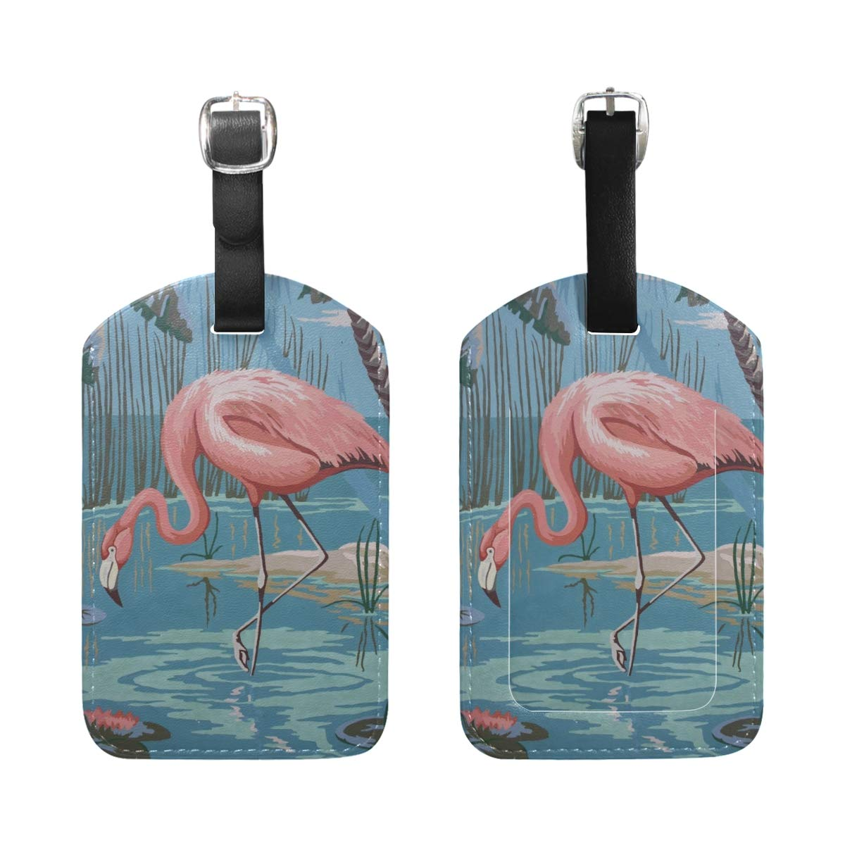 Aibileen Tropical Flamingo Leather Baggage Suitcase Luggage Tags Travel Accessories