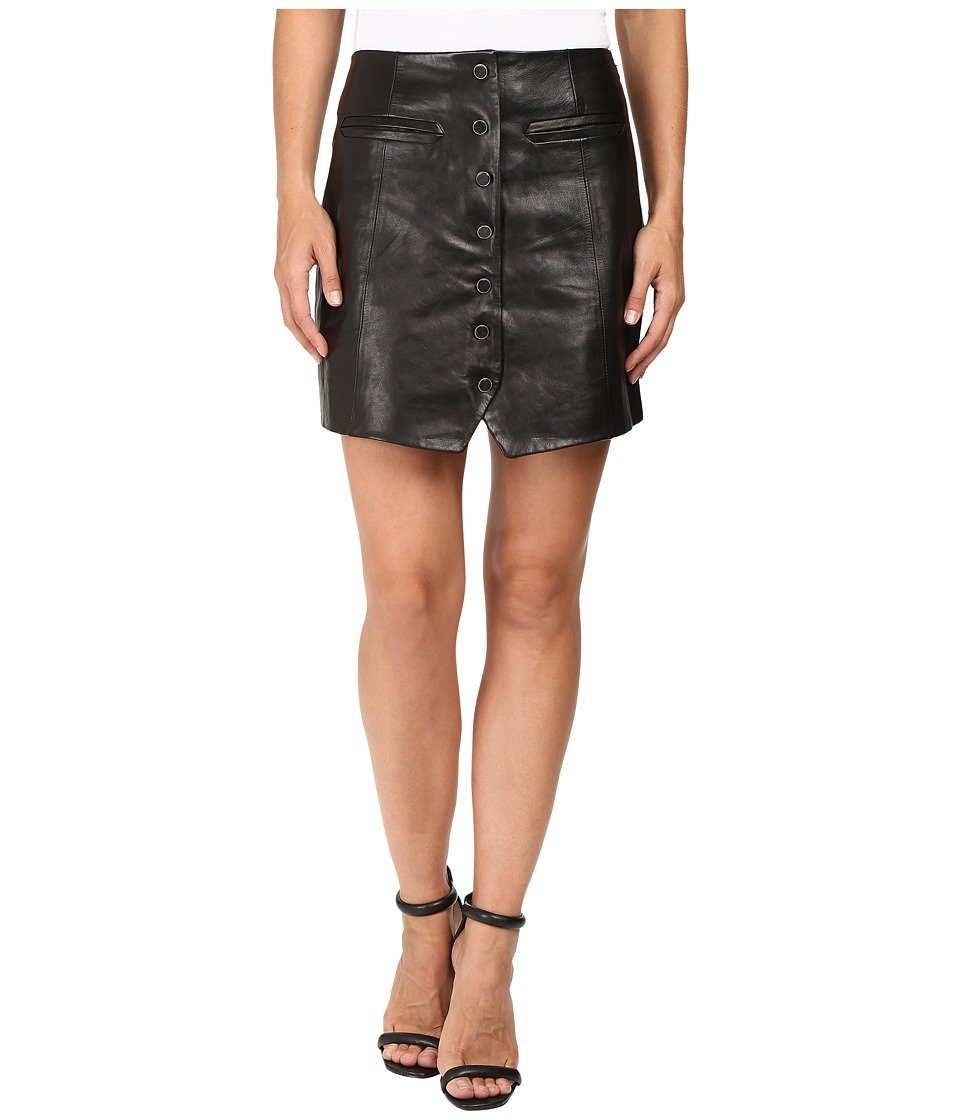 Rachel Zoe Women's Danae Button Front Leather Skirt, Black, 6