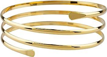 SIX Upperarm-Cuff in Spiralform: Goldfarbener Armreif für den Oberarm, Armspange mit offenen Enden, Stahl, Durchmesser ca. 8.8 cm (460-904)