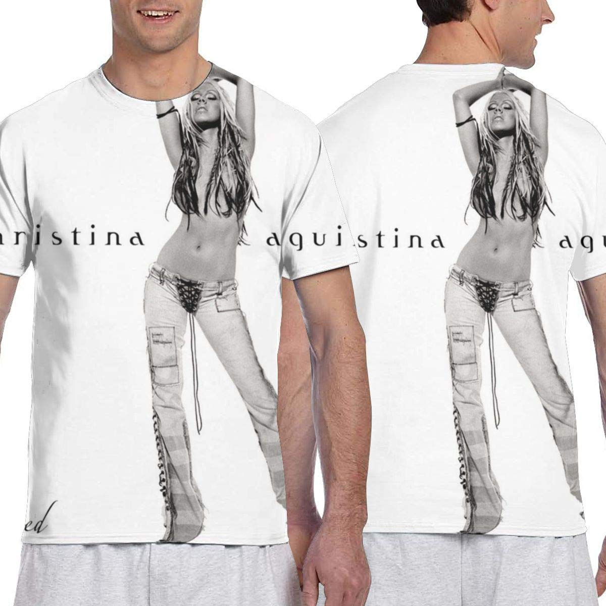 LANDONL Mens Christina Aguilera Stripped 3D Printed Short Sleeve Tshirt Black