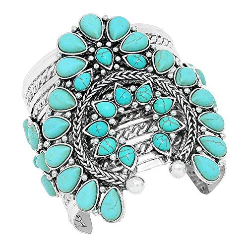 Aris Chunky Metalwork Cabochon Squash Blossom Turquoise Stone Cuff Bracelet Bundle: Bangle & Bag (Classic Turquoise)