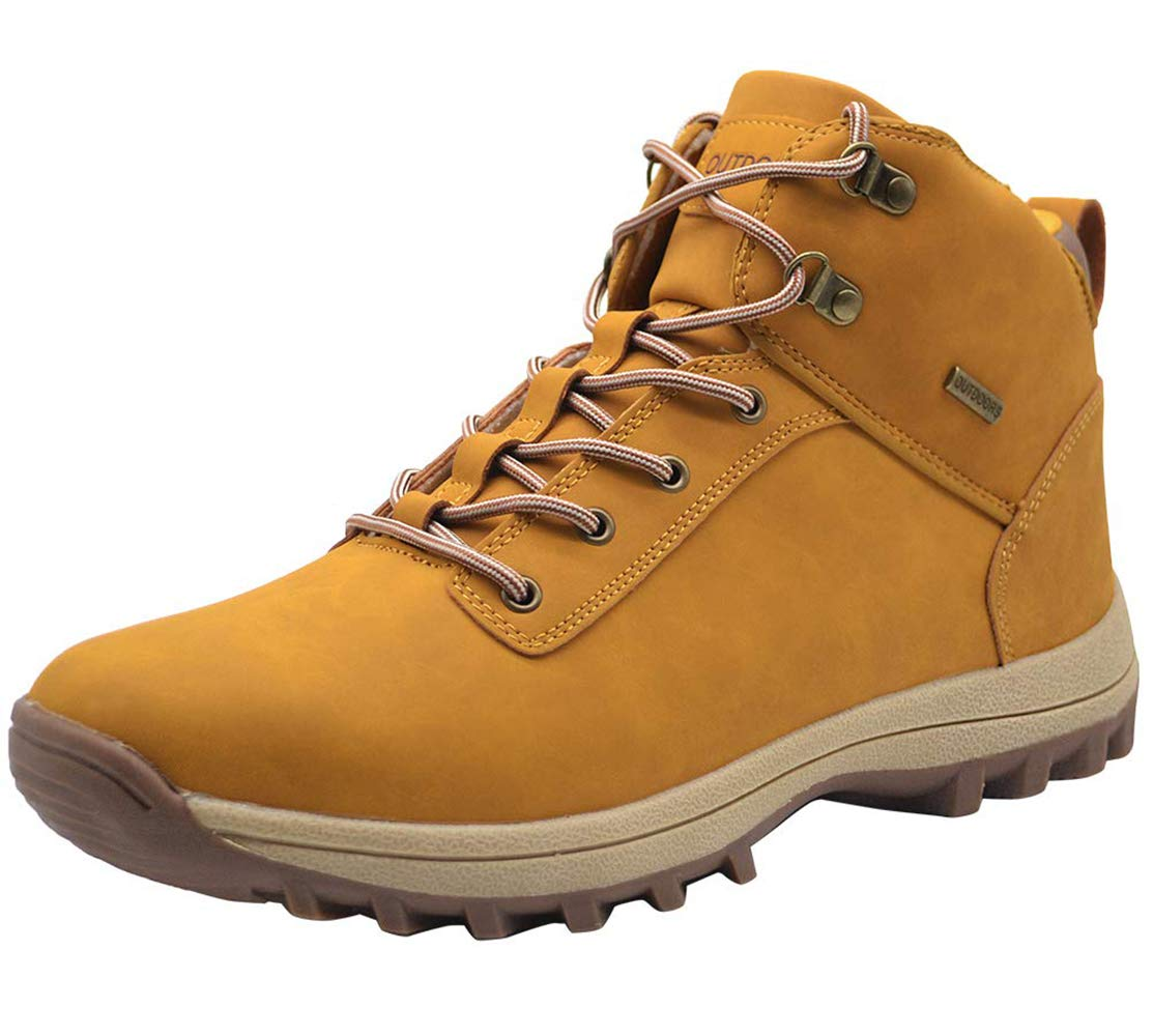 TSIODFO Mens Winter Boots Waterproof Outdoor Ankle Mens Boots PU Leather Lace up Fashion Comforable Trekking Hiking Shoes Waterproof Light Brown Size 8 (572-1lightbrown42) by TSIODFO