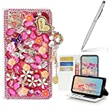 Yaheeda iPhone X Case Stylus, [Stand Feature] 3D Handmade Butterfly Wallet Premium [Glitter Luxury] Leather Flip Cover [Card Slots] iPhone X