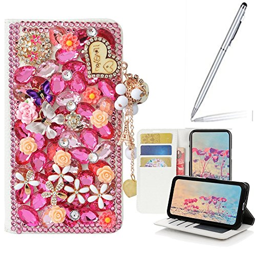 Yaheeda Google Pixel 3 Case with Stylus, [Stand Feature] 3D Handmade Butterfly Wallet Premium [Glitter Luxury] Leather Flip Cover [Card Slots] for Google Pixel3 2018 Smartphone by Yaheeda