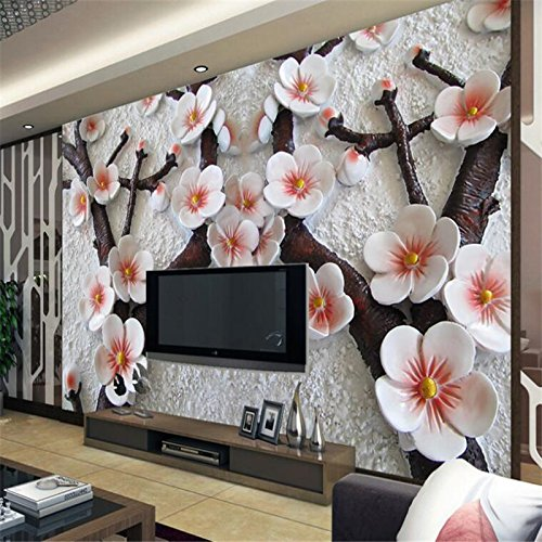 LHDLily 3D Wallpaper Mural Wall Sticker Thickening Custom Photo Walls Stickers Relief Stereo Plum Blossom Tv Wallpara Sala Atacado 300cmX200cm by LHDLily