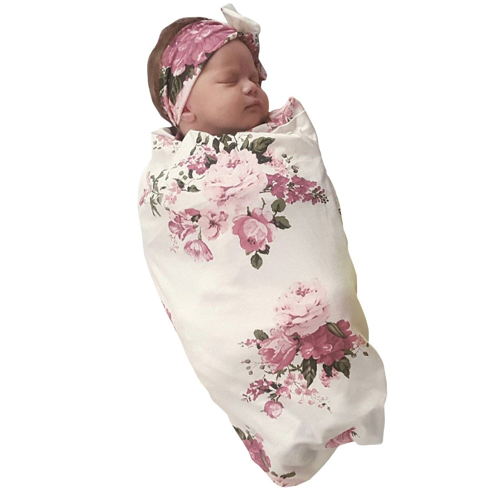 COLOOM Summer Newborn Baby Receiving Blanket Headband Set Pink Flower Print Baby Swaddle Set Gift for Baby Shower
